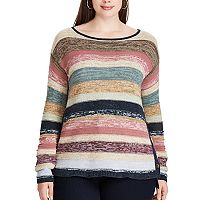 Plus Size Chaps Striped Cotton Long Sleeve Sweater