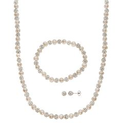Pearre By Imperial Freshwater Cultured Pearl Crystal Bead Necklace Stretch Bracelet Stud Earring