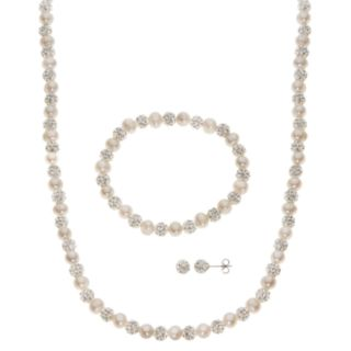 PearLustre by Imperial Freshwater Cultured Pearl & Crystal Bead Necklace, Stretch Bracelet & Stud Earring Set