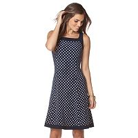 Petite Chaps A-Line Polka-Dot Dress