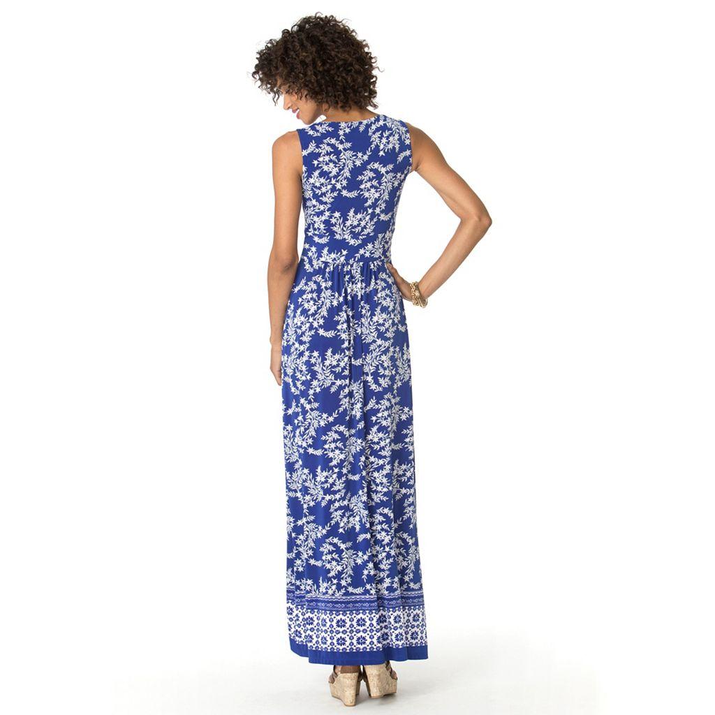 Petite Chaps Printed Maxi Dress