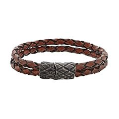 LYNX Men's Double Strand Brown Leather Bracelet