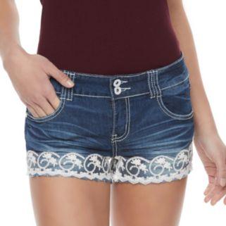 Juniors' Almost Famous Crochet Jean Shortie Shorts