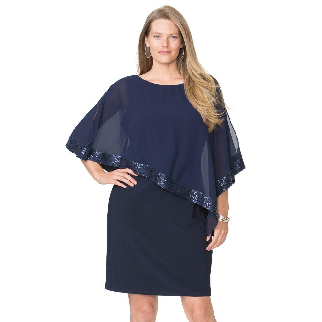 plus size chaps sequin cold-shoulder chiffon-overlay evening dress