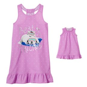 "Girls 4-16 SO® Puppy & Kitty ""Best Friends"" Dorm Nightgown & Doll Gown Set"