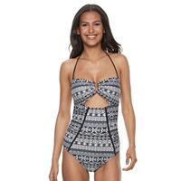Women's Breaking Waves Cutout Tribal One-Piece Swimsuit