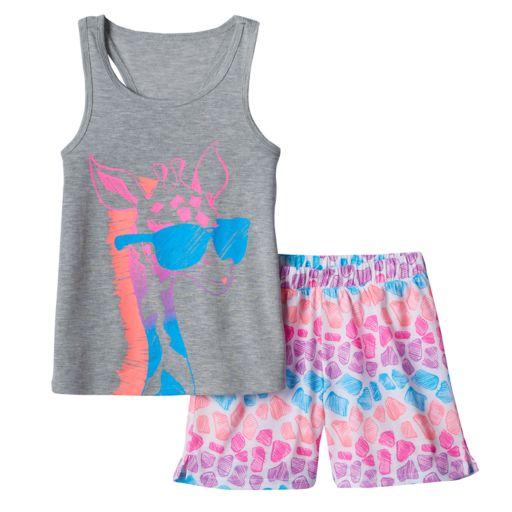 Girls 4-16 SO® Giraffe Tank & Shorts Pajama Set