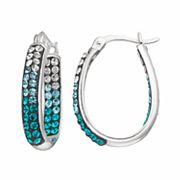 Confetti Blue Crystal Inside Out U-Hoop Earrings