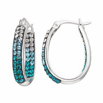 Confetti Blue Crystal Inside Out U-Hoop Earrings