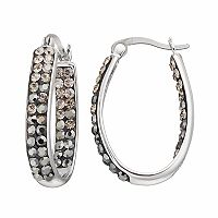 Confetti Black Crystal Inside Out U-Hoop Earrings