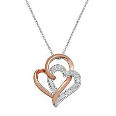 Two Hearts Forever One Two Tone Sterling Silver 1/4 Carat T.W. Diamond Double Heart Pendant