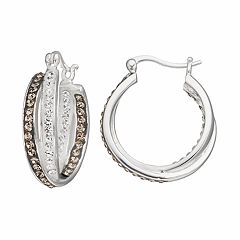 Confetti Crystal Twist Inside Out Hoop Earrings