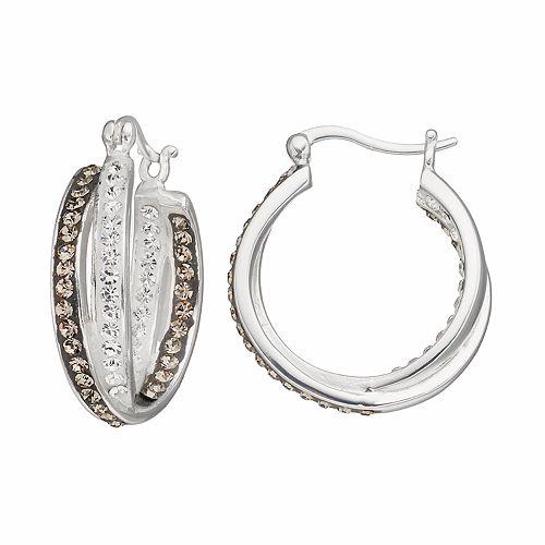 Confetti Crystal Twist Inside Out Hoop Earrings