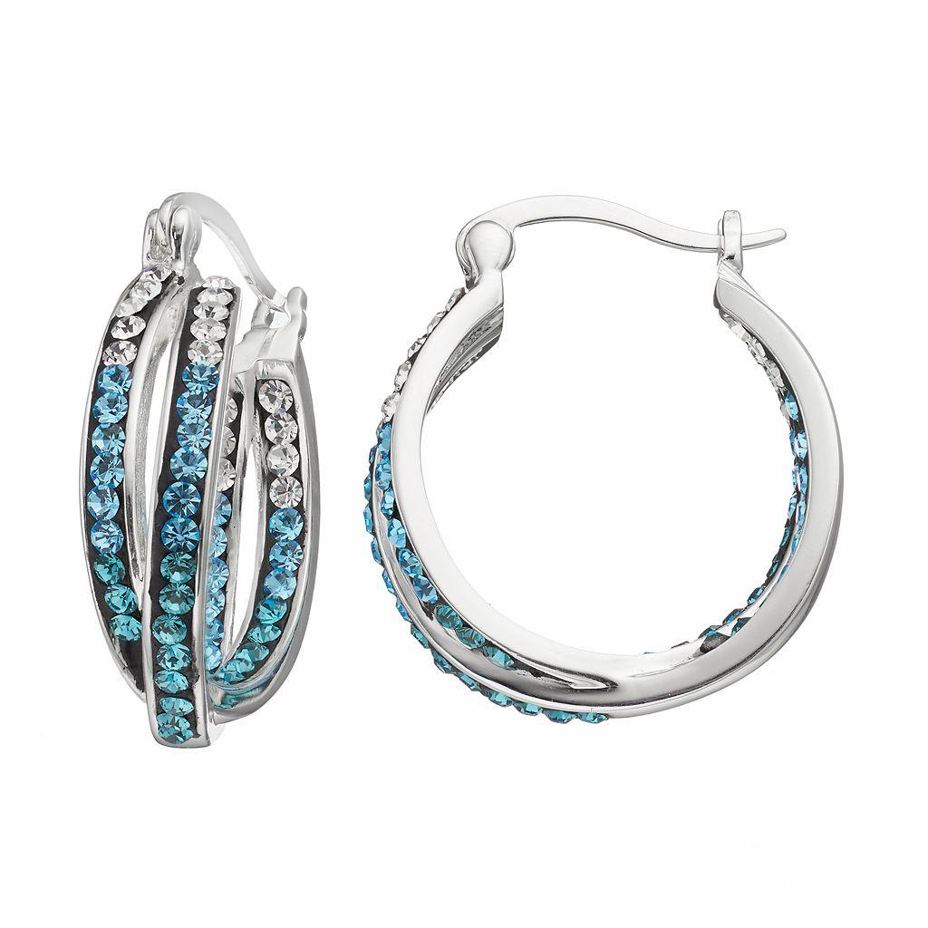 Confetti Blue Crystal Twist Inside Out Hoop Earrings