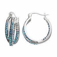 Confetti Blue Crystal Twist Inside Out Hoop Earrings