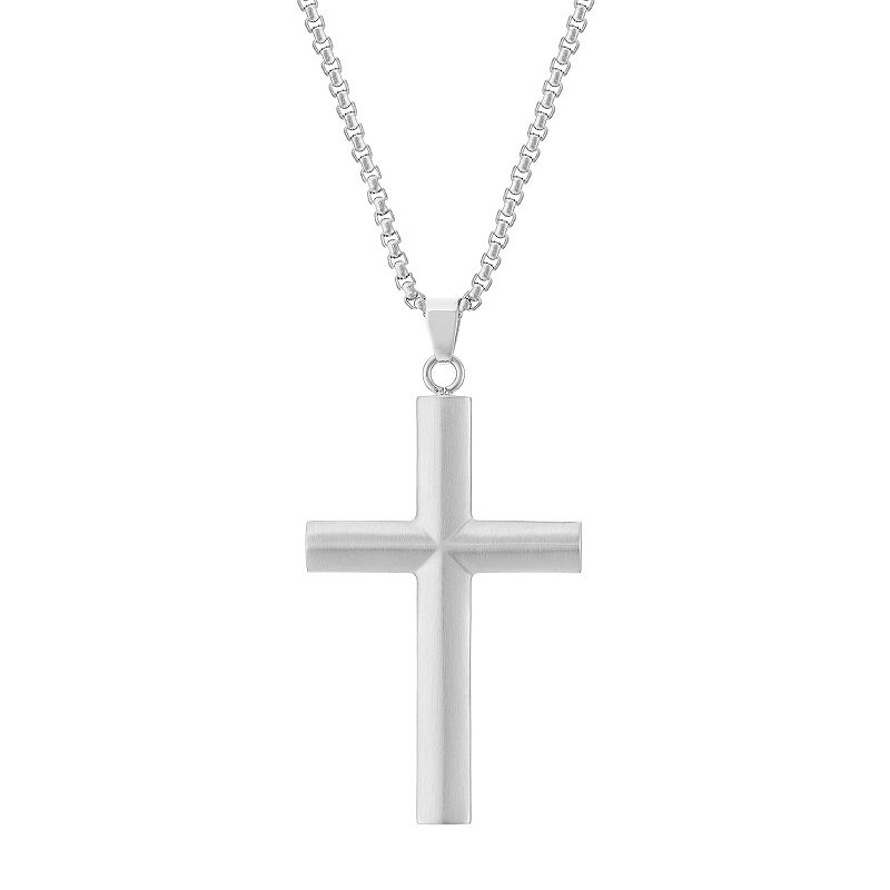 """LYNX Men's Stainless Steel Cross Pendant Necklace. Size: 24"""". Silver"""