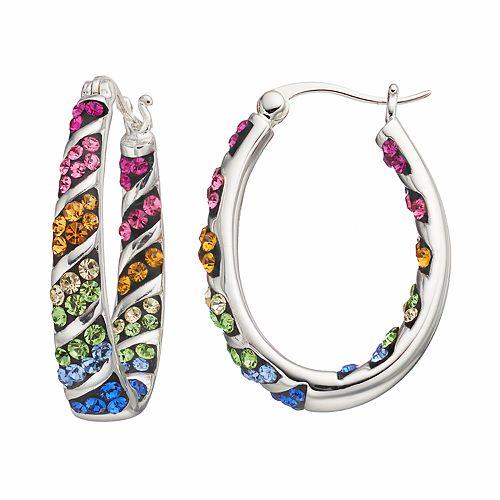 Confetti Crystal Inside Out Oval Hoop Earrings
