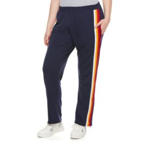 madden NYC Juniors' Plus Size Striped Track Pants