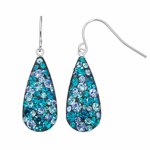 Confetti Blue Crystal Teardrop Earrings