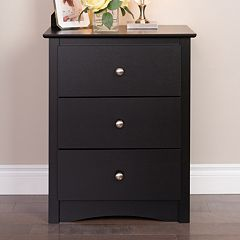 Prepac 3-Drawer Tall Black Nightstand