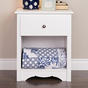 Prepac Monterey 1-Drawer Tall White Nightstand