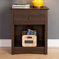 Prepac Fremont 1-Drawer Tall Espresso Nightstand