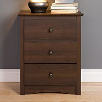 Prepac Fremont 3-Drawer Tall Espresso Nightstand