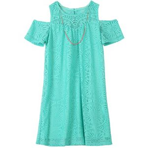 Girls Plus Size Speechless Crochet Lace Overlay Shift Dress with Necklace