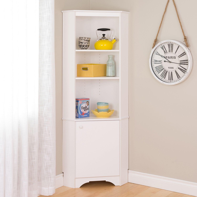 High Quality Prepac Elite Tall 1 Door Corner Storage Cabinet