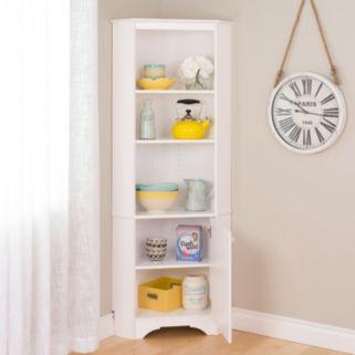 Prepac Elite Tall 1-Door Corner Storage Cabinet