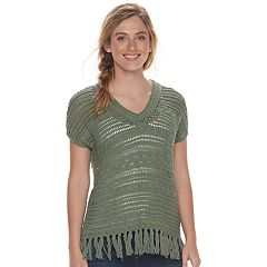 Women's SONOMA Goods for Life™ Open-Stitch Fringe Sweater