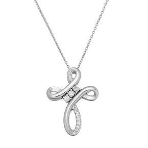 DiamonLuxe Sterling Silver 1/4 Carat T.W. Simulated Diamond Cross Pendant