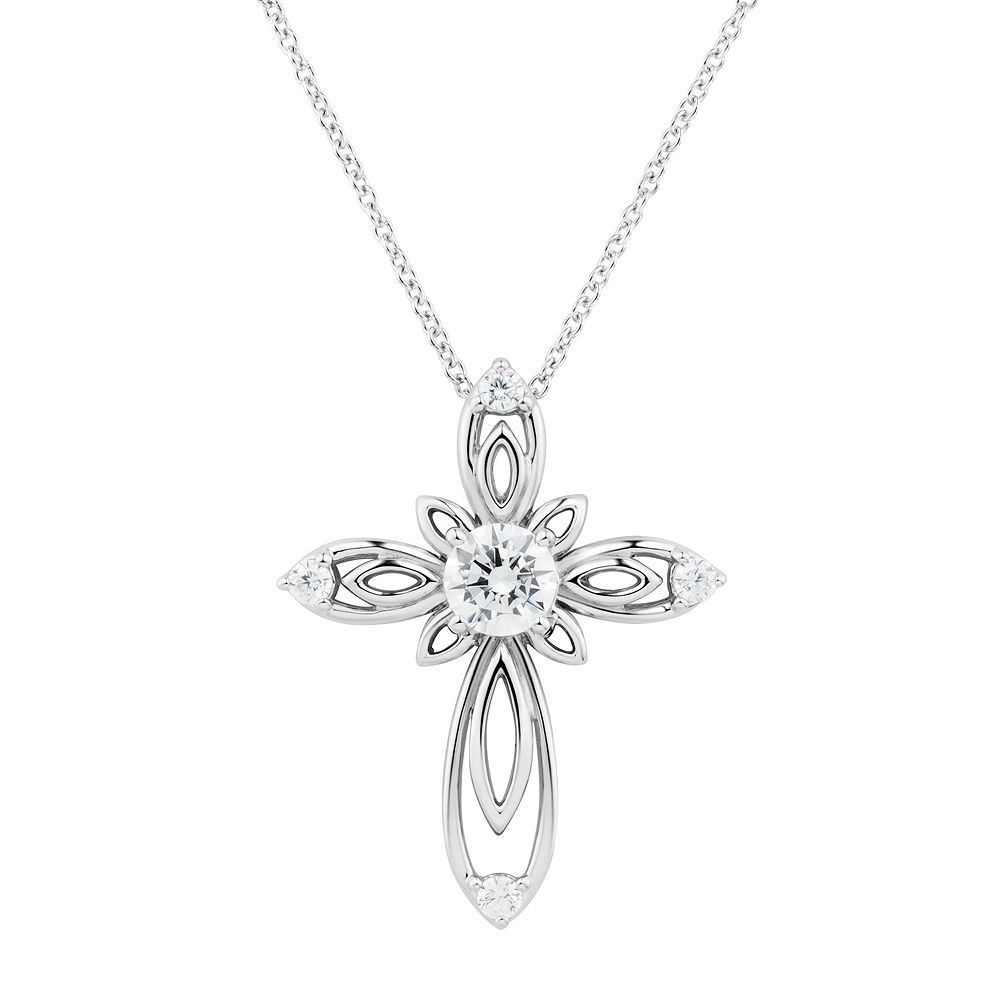 gothic diamond pendant necklace cross simulated style wings silver itm o clear vintage