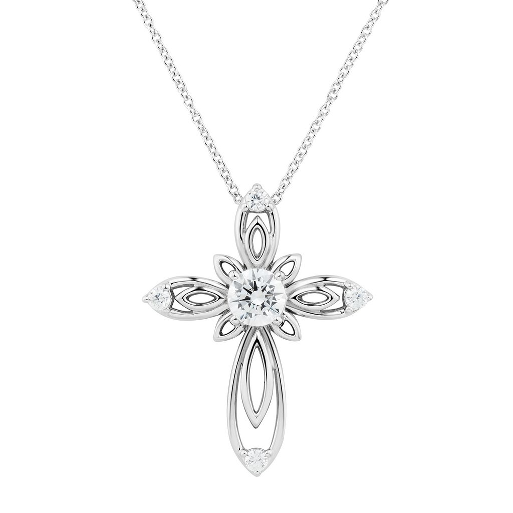 DiamonLuxe Sterling Silver 1 1/10 Carat T.W. Simulated Diamond Cross Pendant