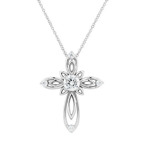 DiamonLuxe Sterling Silver 1 1/10 Carat T.W. Simulated Diamond Cross Pendant
