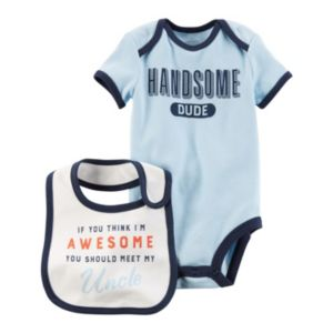 Baby Boy Carter's Family Slogan Graphic Bodysuit & Bib Set
