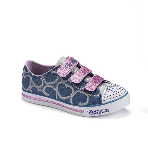 36932e77952e Skechers Twinkle Toes Sparkle Glitz Hearts Girls' Light-Up Shoes