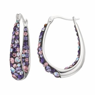 Confetti Purple Crystal Inside Out U-Hoop Earrings