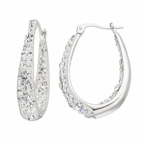 Confetti Clear Crystal Inside Out U-Hoop Earrings
