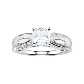 DiamonLuxe Sterling Silver 2 Carat T.W. Simulated Diamond Engagement Ring