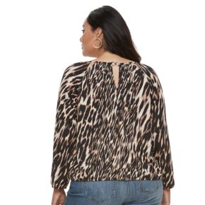 Plus Size Jennifer Lopez Keyhole Peasant Top