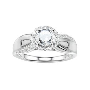 DiamonLuxe Sterling Silver 2 Carat T.W. Simulated Diamond Halo Engagement Ring