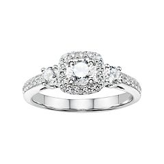DiamonLuxe Sterling Silver 1 5/8 Carat T.W. Simulated Diamond Cushion Halo Engagement Ring
