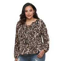 Plus Size Jennifer Lopez Lace-Up Peasant Top