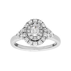 DiamonLuxe Sterling Silver 1 7/8 Carat T.W. Simulated Diamond Oval Halo Engagement Ring