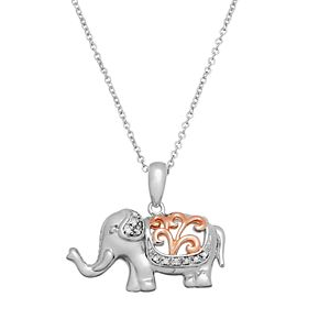 Two Tone Sterling Silver Diamond Accent Elephant Pendant Necklace