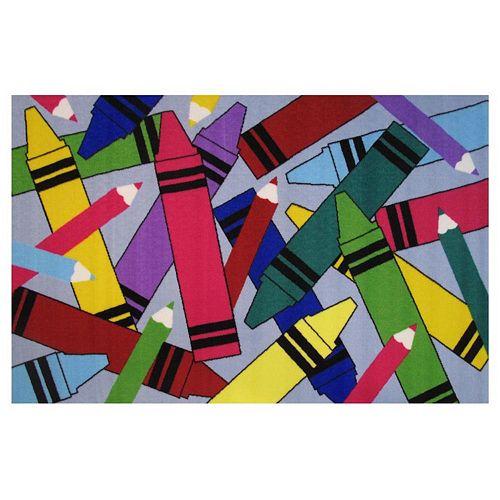 Fun Rugs Fun Time Crayons & Pencils Rug - 3'3'' x 4'10''