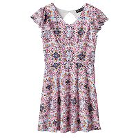 Girls 7-16 Three Pink Hearts Laser Cut Pattern Dress