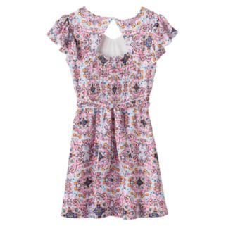 Girls 7-16 Three Pink Hearts Laser Cut Pattern Dress