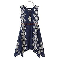 Girls 7-16 Knitworks Belted Handkerchief Hem Crochet Skater Dress with Necklace